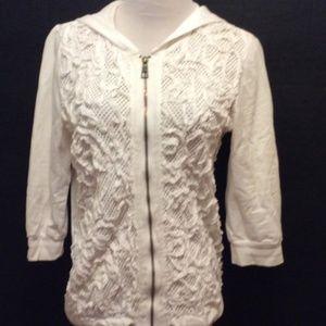 XCVI Hoodie S White Crochet Front Long 3/4 Sleeve
